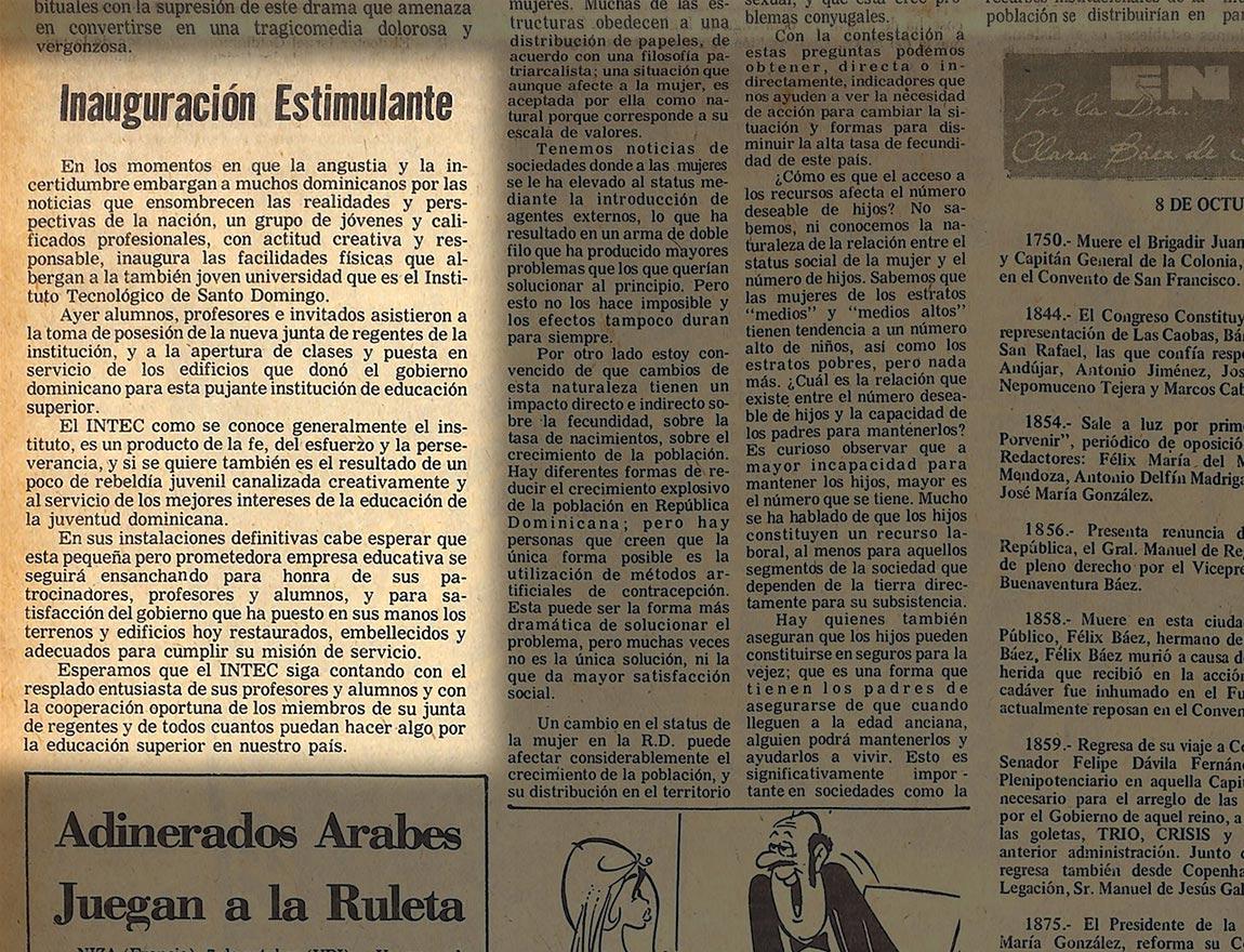 Publicación del Listín Diario, martes 8 de octubre de 1974. Editorial de Don Rafael Herrera.